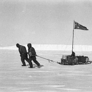 Item 166: Wild and Kennedy setting out to relieve Jones' Party. Icy Cape in view / photograph by Andrew D. Watson