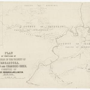 Plan of portions of gold fields in the vicinity of Tambaroora, Hill-end and Chamber's Creek [cartographic material] / compiled and lithographed at Surveyor General's Office.
