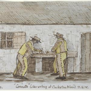 """Convicts Letter writing at Cockatoo Island N.S.W. """"Canary Birds"""""""