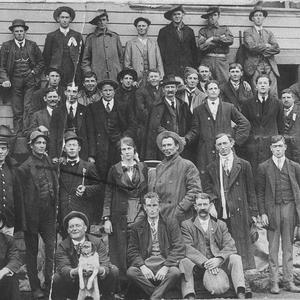 """Some of the first Bega men to enlist during World War I, 1914, on Tathra Wharf ten miles from Bega. Waiting to embark on ship """"Merimbula"""" - Tathra, NSW"""