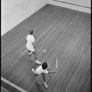 Squash instruction. Heather Blundell and Ken Hiscoe, May 1962 / photographs by R. Donaldson
