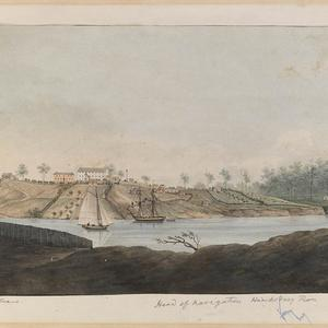 Windsor, Head of navigation Hawksbury [sic] River / watercolour, possibly by G.W. Evans, & formerly attributed to E. Earle