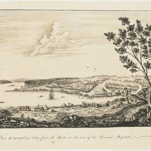 West view of Sydney-Cove taken from the Rocks, at the rear of the General Hospital, [1789]