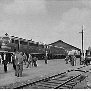 First train (goods) to run on the new standard gauge line from Sydney-Melbourne ready in Alexandria Goods Yard
