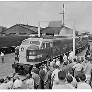 First passenger express train to run on the new standard gauge line from Sydney-Melbourne ready in Alexandria Goods Yard