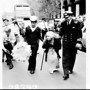 Elderly Japanese woman Mrs. Matsue Matsuo, (mother of one of the officers of the midget submarines which entered Sydney Harbour in World War II), visits Sydney to lay a wreath at the Cenotaph, visit Garden Island and the place where the submarine was destroyed