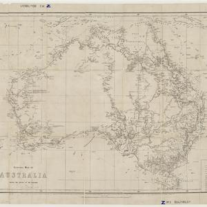 General map of Australia shewing the routes of the explorers [cartographic material] / reduced and drawn by Edward Price under the direction of R. Brough Smyth, F.G.S. ; lithographed at the Office of Lands and Survey, Melbourne ; the outline and hills by Thomas Franklin Bibbs ; the writing by William Collis, under the supervision of Richard Counsel, Chief Draftsman, C.W. Ligar, C.E. Surveyor General, The Honorable Charles Gavan Duffy, President of the Board of Land and Works.