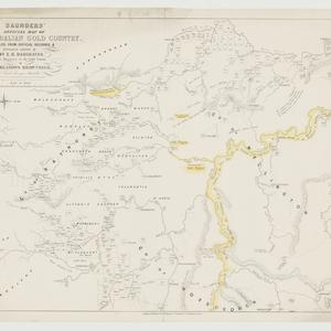 Saunders' map of the Australian gold country [cartographic material] : compiled from the official records & information afforded by E. H. Hargraves, the discoverer of the gold country, [1851] / by W. Meadows Brownrigg.