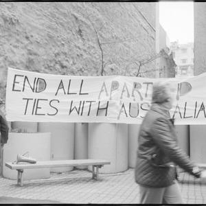 Item 0841: Tribune negatives including Melbourne gay and lesbians picketing New Zealand Tourist Bureau and Electrical Trades Union rally, Queensland, June-August 1985