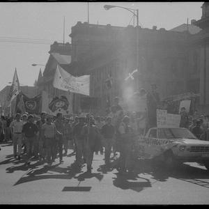 Item 0891: Tribune negatives including May Day march, Melbourne, Victoria and Peter Garrett, John Gorman, 1985