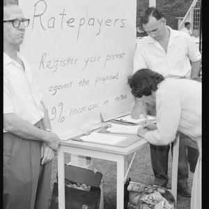 Item 092: Tribune negatives including petition at West Pymble shopping centre regarding rate increase, February 1966.