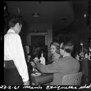 Men's Etiquette School. Location - June Dally-Watkins School, 23 February 1961 / photographed by Lynch