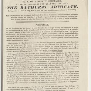 On Saturday, January 1, 1848, will be published No. 1 of a weekly newspaper, at seven shillings per quarter, entitled The Bathurst advocate ... .