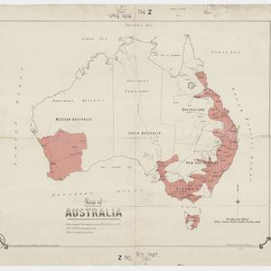 Map of Australia [cartographic material] / drawn at the Victoria Barracks by W.I.S. Percival Aug. 1910.