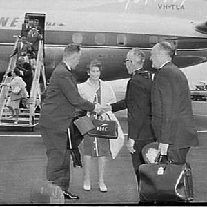 Sir G.Guthrie's assistant welcomed, BOAC, Mascot Airport