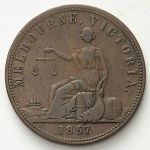 Item 1174: Hide & De Carle penny token, 1857
