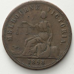 Item 1275: Hide & De Carle penny token, 1858