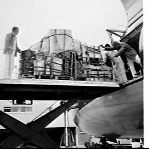 ICI ANZ drums being unloaded from a BOAC cargo flight, Mascot