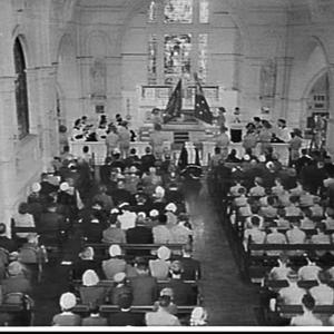 Anzac Day ceremony, 1958, at Riverview College