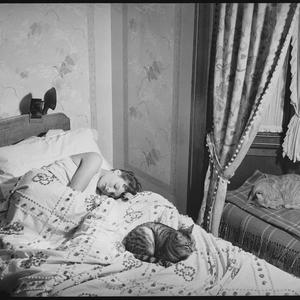 """""""Yawn & stretch"""" exercise with cats series, 12 May 1939 / photographed by Ted Hood"""