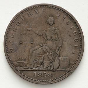 Item 3884: Peace & Plenty penny token, 1858