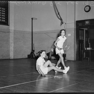 Badminton at YWCA, December 1952 / photographed by Ivan